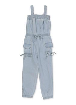 Girls 4-6x Sleeveless Cargo Jumpsuit - 1618038340225