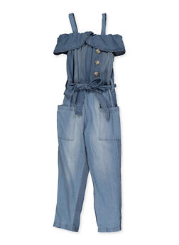 Girls 4-6x Off the Shoulder Denim Jumpsuit - 1618038340226