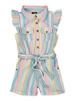 Girls 4-6x Striped Button Front Romper - 1618038340318