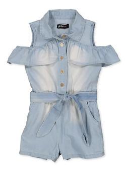 Girls 4-6x Cold Shoulder Ruffled Denim Romper - 1618038340327