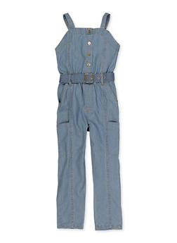 Little Girls Sleeveless Denim Jumpsuit - 1618038340371