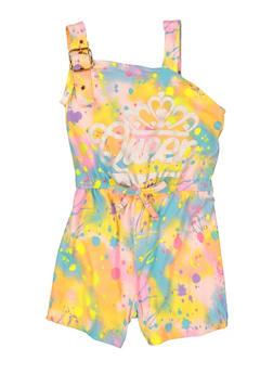 Little Girls Queen Paint Splatter Romper - 1618038340406