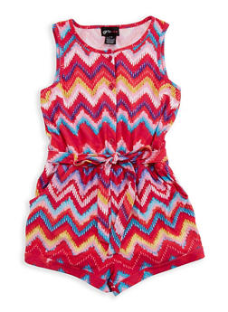 Girls 4-6x Printed Romper with Belt - 1618051060050