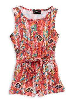 Girls 4-6x Printed Tie Waist Romper - 1618051060051