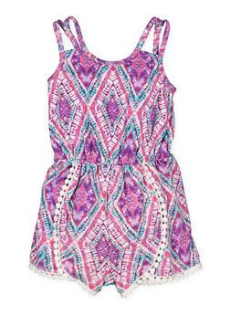 Girls 4-16 Printed Crochet Trim Romper - 1618051060052