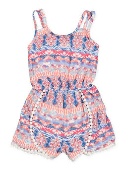 Girls 4-6x Printed Crochet Trim Romper - 1618051060052