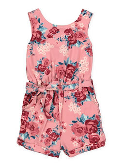 Girls 4-6x Caged Back Floral Romper - 1618051060053