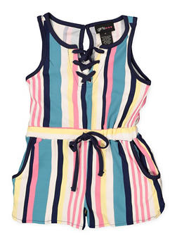 Girls 4-6x Striped Lace Up Romper - 1618051060060