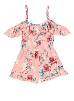Girls 4-6x Floral Cold Shoulder Romper - 1618051060062
