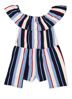Girls 4-6x Striped Soft Knit Romper - 1618051060063
