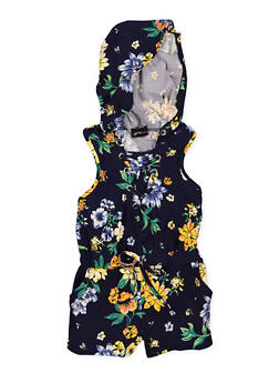 Girls 4-6x Lace Up Floral Romper - 1618051060066