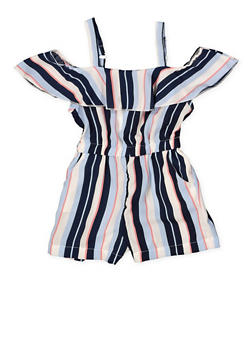 Girls 4-6x Striped Ruffle Romper - 1618051060070