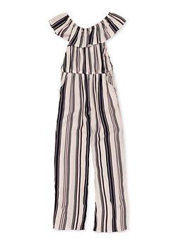 Girls 4-6x Ruffle Striped Jumpsuit - 1618051060090