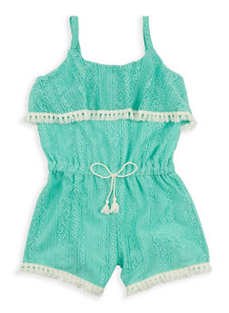 Girls 4-6x Tassel Trim Lace Romper - 1618054730004
