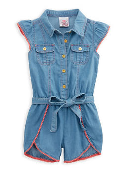 Girls 4-6x Button Front Denim Romper - 1618054730009