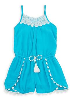 Girls 4-6x Crochet Trim Gauze Knit Romper - 1618054730014