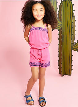 Girls 4-6x Gauze Knit Embroidered Romper - 1618054730015