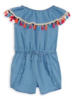 Girls 4-6x Off the Shoulder Chambray Romper - 1618054730017