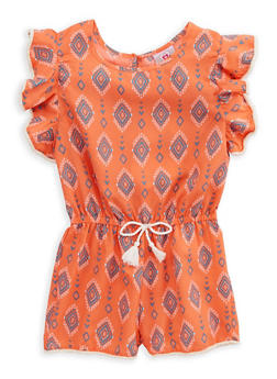 Girls 4-6x Printed Flutter Sleeve Romper - 1618054730019