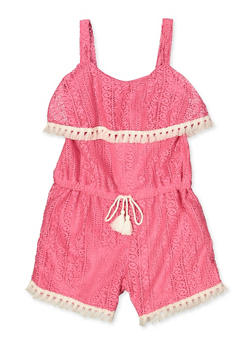 Girls 4-6x Lace Tassel Trim Romper - 1618054730051