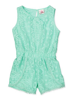 Girls 4-6x Crochet Trim Lace Romper - 1618054730052