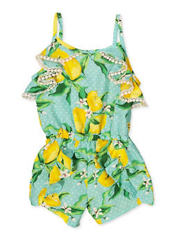 Girls 4-16 Lemon Print Romper - 1618054730060