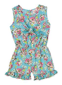 Girls 4-6x Floral Tie Front Romper - 1618054730062