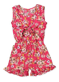 Girls 4-6x Floral Tie Front Romper - 1618054730062
