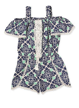 Girls 4-6x Printed Crochet Trim Off the Shoulder Romper - 1618054730063