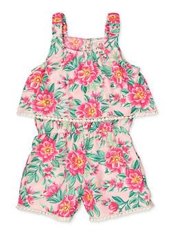Girls 4-6x Floral Crochet Trim Overlay Romper - 1618054730064