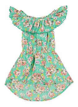 Girls 4-6x Floral Ruffled Overlay Romper - 1618054730065