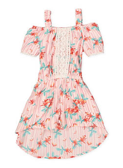 Girls 4-6x Floral Off the Shoulder Overlay Romper - 1618054730066