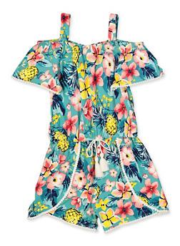 Girls 4-6x Tropical Floral Off the Shoulder Romper - 1618054730071