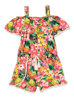 Girls 4-6x Tropical Floral Off the Shoulder Romper - 1618054730071