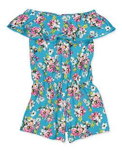 Girls 4-12 Floral Off the Shoulder Romper - 1618054730072