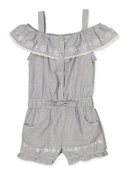Girls 4-6x Embroidered Denim Romper - 1618054730080