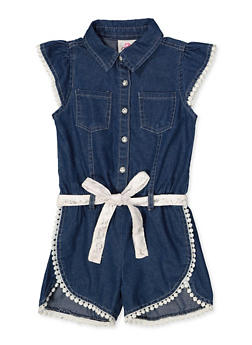 Girls 4-6x Denim Crochet Trim Romper - 1618054730081