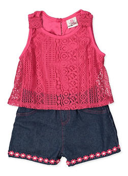 Girls 4-6x Lace Sleeveless Romper - 1618054730085