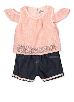 Girls 4-6x Lace Cold Shoulder Romper - 1618054730086