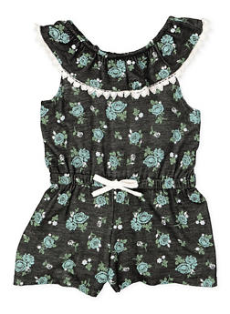 Girls 4-6x Floral Off the Shoulder Romper - 1618061950011