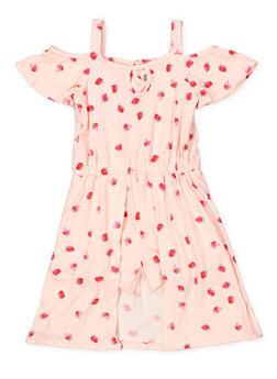 Girls 4-6x Strawberry Print Overlay Romper - 1618061950016