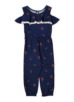 Girls 4-6x Cherry Print Jumpsuit - 1618061950018