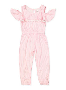 Girls 4-6x Soft Knit Striped Jumpsuit - 1618061950019
