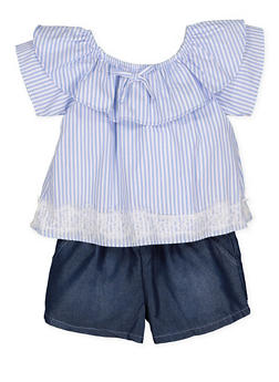 Girls 4-6x Limited Too Striped Overlay Romper - 1618069380023