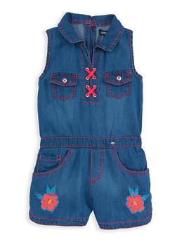 Girls 4-6x Limited Too Floral Patch Denim Romper - 1618069380062