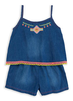 Girls 4-6x Limited Too Embroidered Overlay Denim Romper - 1618069380071