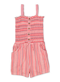 Girls 7-16 Striped Faux Button Romper - 1619023130055