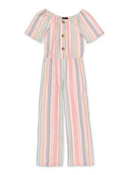Girls 7-16 Striped Soft Knit Jumpsuit - 1619029890001