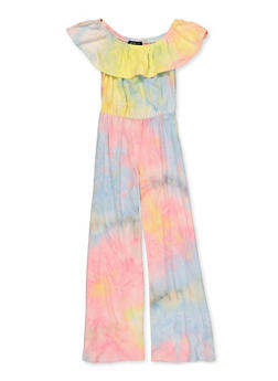 Girls 7-16 Tie Dye Off the Shoulder Jumpsuit - 1619029890002