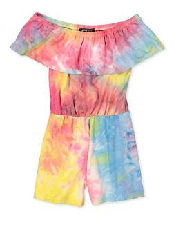 Girls 7-16 Ruffled Tie Dye Off the Shoulder Romper - 1619029890006